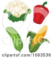 Clipart Cauliflower Bell Pepper Cucumber And Corn Digital Collage Royalty Free Vector Illustration by Pushkin