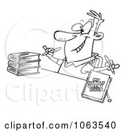 Clipart Author Signing Books Black And White Outline Royalty Free Vector Illustration