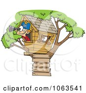 Clipart Caucasian Pirate Boy In His Tree House Royalty Free Vector Illustration by toonaday
