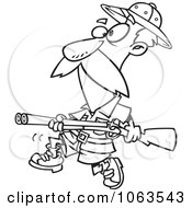 Clipart Big Game Hunter With A Rifle Black And White Outline Royalty Free Vector Illustration by toonaday