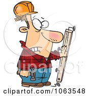 Clipart Carpenter Nailing His Hand To A Board Royalty Free Vector Illustration