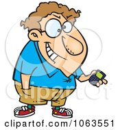 Clipart Devious Nerd With A Gadget 2 Royalty Free Vector Illustration by toonaday