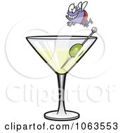 Clipart Fly Diver Over A Martini Royalty Free Vector Illustration by toonaday