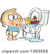 Clipart Boy With Toys In The Toilet Royalty Free Vector Illustration