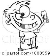 Clipart Proud Boy Holding His Tooth Black And White Outline Royalty Free Vector Illustration by toonaday
