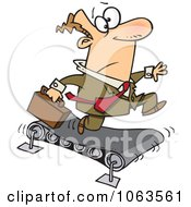 Clipart Caucasian Businessman Running On A Treadmill Royalty Free Vector Illustration