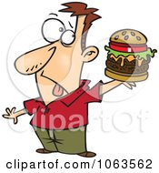 Clipart Man Holding A Reject Burger Royalty Free Vector Illustration