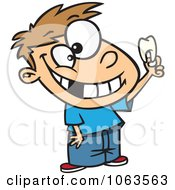 Clipart Proud Caucasian Boy Holding His Tooth Royalty Free Vector Illustration by toonaday