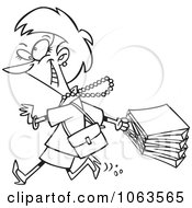 Clipart Woman On A Rampage Shopping Spree Black And White Outline Royalty Free Vector Illustration
