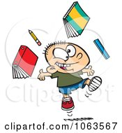 Clipart Happy Caucasian School Boy Ready For Vacation Royalty Free Vector Illustration