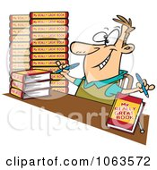 Clipart Author Signing Books Royalty Free Vector Illustration