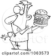 Clipart Man Holding A Reject Burger Black And White Outline Royalty Free Vector Illustration