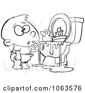 Clipart Boy With Toys In The Toilet Black And White Outline Royalty Free Vector Illustration