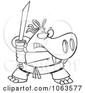 Clipart Hippo Ninja Black And White Outline Royalty Free Vector Illustration