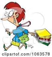 Clipart Caucasian Woman On A Rampage Shopping Spree Royalty Free Vector Illustration by toonaday