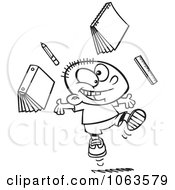 Clipart Happy School Boy Ready For Vacation Black And White Outline Royalty Free Vector Illustration