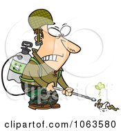 Clipart Victorious Weed Killer Royalty Free Vector Illustration by toonaday