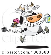 Clipart Dairy Cow With Ice Cream And Milk Royalty Free Vector Illustration by toonaday
