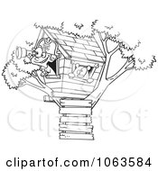 Clipart Pirate Boy In His Tree House Black And White Outline Royalty Free Vector Illustration by toonaday
