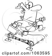 Clipart Businessman Running On A Treadmill Black And White Outline Royalty Free Vector Illustration by Ron Leishman