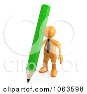 3d Orange Businessman With A Pencil