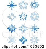 Clipart Snowflakes In Blue Digital Collage 5 Royalty Free Vector Illustration