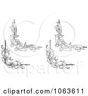 Clipart Floral Corner Elements Digital Collage 8 Royalty Free Vector Illustration