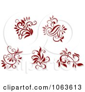 Clipart Red Flourishes Digital Collage 2 Royalty Free Vector Illustration