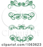 Clipart Green Flourish Borders Digital Collage 10 Royalty Free Vector Illustration