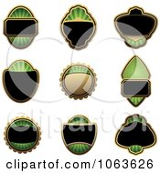 Clipart Blank Green Labels Digital Collage 3 Royalty Free Vector Illustration