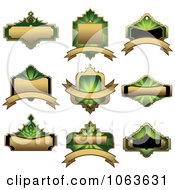 Clipart Blank Green Labels Digital Collage 13 Royalty Free Vector Illustration