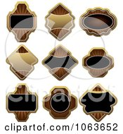 Clipart Blank Gold And Black Labels Digital Collage 7 Royalty Free Vector Illustration