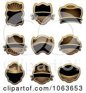 Clipart Blank Gold And Black Labels Digital Collage 3 Royalty Free Vector Illustration
