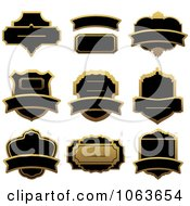 Clipart Blank Gold And Black Labels Digital Collage 5 Royalty Free Vector Illustration