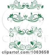 Clipart Green Flourish Borders Digital Collage 8 Royalty Free Vector Illustration