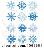 Clipart Snowflakes In Blue Digital Collage 7 Royalty Free Vector Illustration