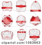 Clipart Blank Red Labels Digital Collage 4 Royalty Free Vector Illustration
