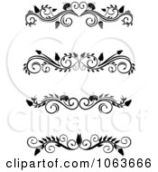Clipart Black And White Flourish Borders Digital Collage 1 Royalty Free Vector Illustration