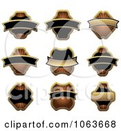 Clipart Blank Gold And Black Labels Digital Collage 1 Royalty Free Vector Illustration