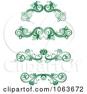 Clipart Green Flourish Borders Digital Collage 12 Royalty Free Vector Illustration
