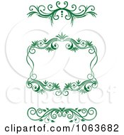 Clipart Green Flourish Borders Digital Collage 7 Royalty Free Vector Illustration