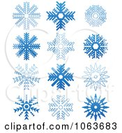 Clipart Snowflakes In Blue Digital Collage 6 Royalty Free Vector Illustration