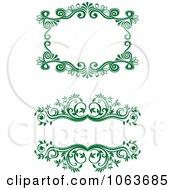 Clipart Green Flourish Borders Digital Collage 11 Royalty Free Vector Illustration