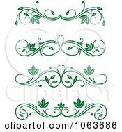 Clipart Green Flourish Borders Digital Collage 9 Royalty Free Vector Illustration