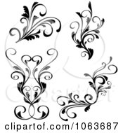 Clipart Black And White Flourishes Digital Collage 1 Royalty Free Vector Illustration