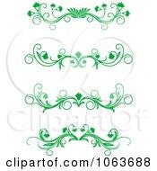 Clipart Green Flourish Borders Digital Collage 14 Royalty Free Vector Illustration