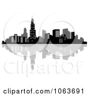 Clipart Waterfront City Skyline 3 Royalty Free Vector Illustration