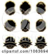 Clipart Blank Gold And Black Labels Digital Collage 2 Royalty Free Vector Illustration