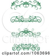 Clipart Green Flourish Borders Digital Collage 13 Royalty Free Vector Illustration