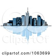 Clipart Waterfront City Skyline 1 Royalty Free Vector Illustration